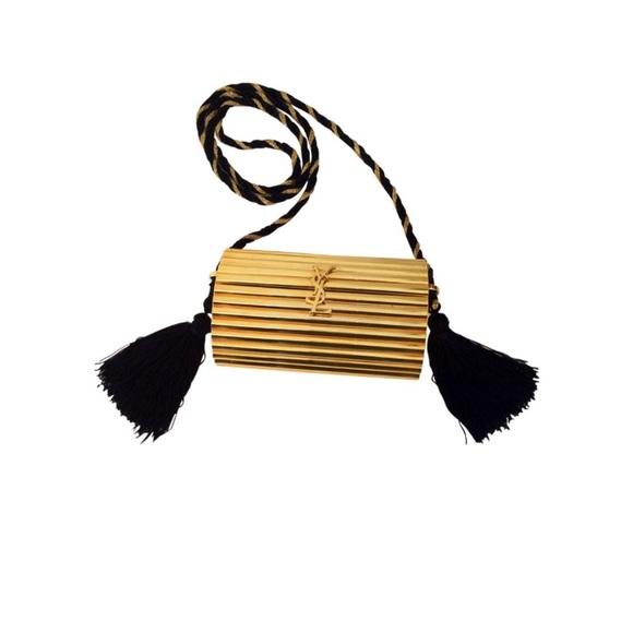 bcbcf1ab23c6 YSL Vintage Gold Metal Black Tassel Evening Clutch.  M 5a7ddade2ab8c590ad36ab3e
